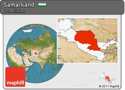 Free Satellite Location Map of Samarkand, highlighted country