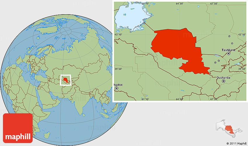 Savanna Style Location Map of Samarkand