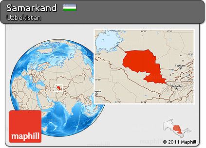 Free Shaded Relief Location Map of Samarkand