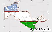 Flag Simple Map of Uzbekistan