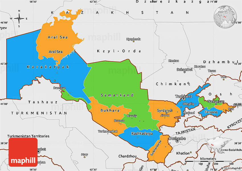 Political Simple Map of Uzbekistan single color outside borders
