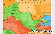 Political Shades Simple Map of Uzbekistan