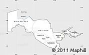 Silver Style Simple Map of Uzbekistan, single color outside