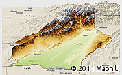 Physical Panoramic Map of Surkhandarya, shaded relief outside