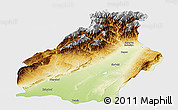 Physical Panoramic Map of Surkhandarya, single color outside
