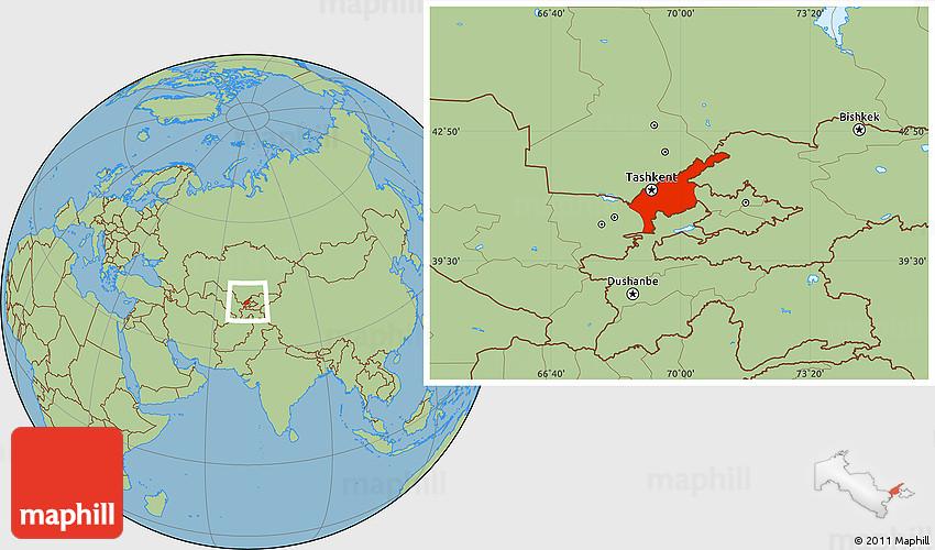 Savanna Style Location Map of Tashkent Oblast