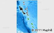 Flag 3D Map of Vanuatu, single color outside, bathymetry sea