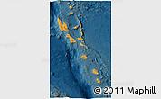 Political 3D Map of Vanuatu, darken