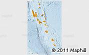 Political 3D Map of Vanuatu, lighten