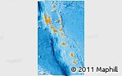 Political 3D Map of Vanuatu, political shades outside