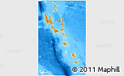 Political 3D Map of Vanuatu, semi-desaturated, land only