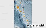 Political 3D Map of Vanuatu, semi-desaturated