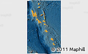 Political Shades 3D Map of Vanuatu, darken