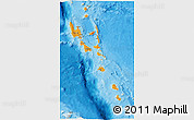 Political Shades 3D Map of Vanuatu, shaded relief outside, bathymetry sea