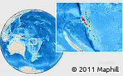 Flag Location Map of Vanuatu, shaded relief outside