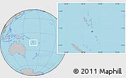 Gray Location Map of Vanuatu, hill shading inside