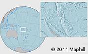Gray Location Map of Vanuatu, hill shading outside