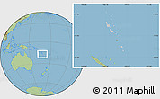 Gray Location Map of Vanuatu, savanna style outside