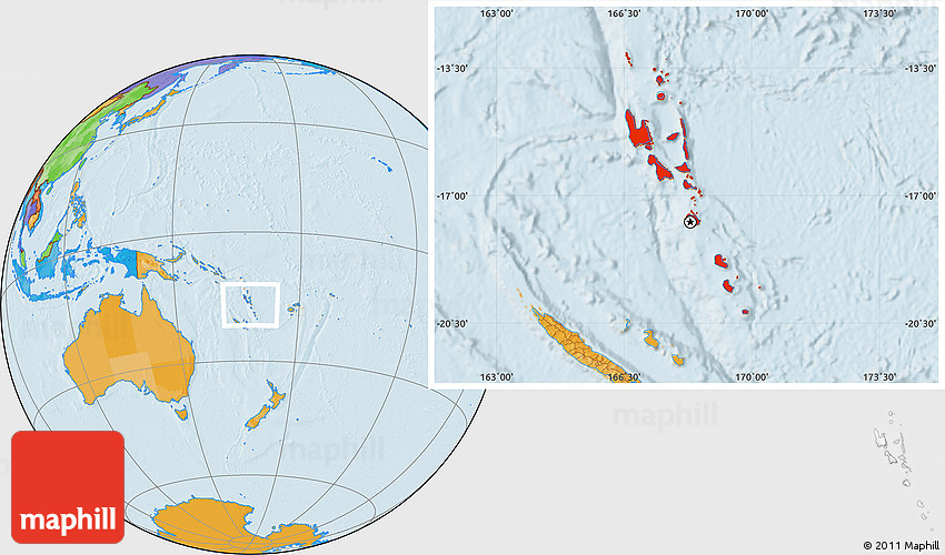 Political Location Map of Vanuatu