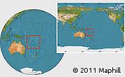 Satellite Location Map of Vanuatu, within the entire continent