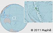 Satellite Location Map of Vanuatu, gray outside, hill shading