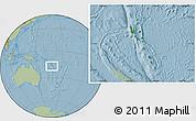 Satellite Location Map of Vanuatu, savanna style outside, hill shading