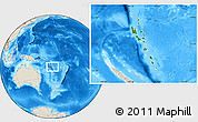 Satellite Location Map of Vanuatu, shaded relief outside