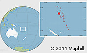 Savanna Style Location Map of Vanuatu, highlighted continent