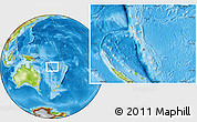 Shaded Relief Location Map of Vanuatu, physical outside