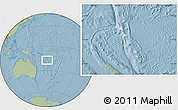 Shaded Relief Location Map of Vanuatu, savanna style outside, hill shading