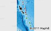Flag Map of Vanuatu, political shades outside