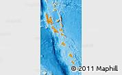 Political Map of Vanuatu, satellite outside, bathymetry sea
