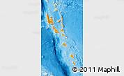 Political Map of Vanuatu, shaded relief outside, bathymetry sea