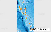 Political Shades Map of Vanuatu, shaded relief outside, bathymetry sea