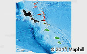 Flag Panoramic Map of Vanuatu, shaded relief outside