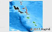 Flag Panoramic Map of Vanuatu, single color outside, bathymetry sea