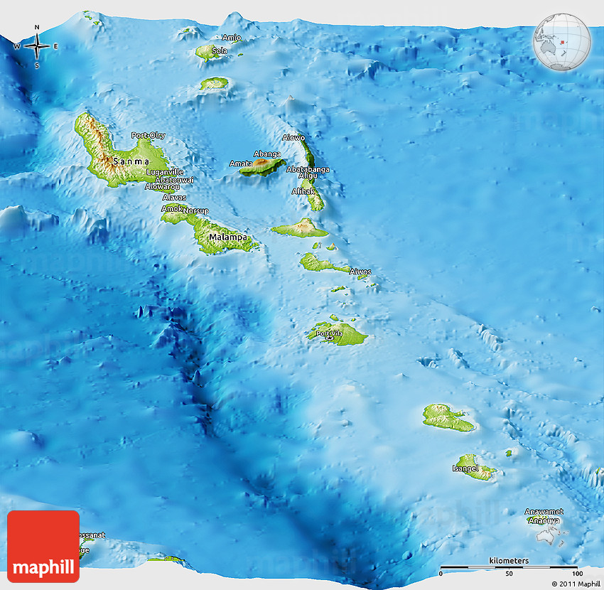 Physical Panoramic Map Of Vanuatu - Vanuatu map