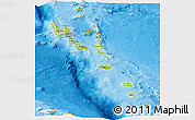 Physical Panoramic Map of Vanuatu, political shades outside, shaded relief sea