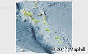 Physical Panoramic Map of Vanuatu, semi-desaturated