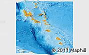 Political Panoramic Map of Vanuatu, physical outside