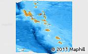 Political Panoramic Map of Vanuatu, semi-desaturated, land only
