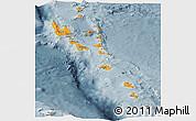 Political Panoramic Map of Vanuatu, semi-desaturated