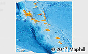 Political Panoramic Map of Vanuatu, shaded relief outside, bathymetry sea