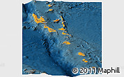 Political Shades Panoramic Map of Vanuatu, darken