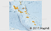 Political Shades Panoramic Map of Vanuatu, lighten