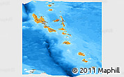 Political Shades Panoramic Map of Vanuatu, semi-desaturated, land only