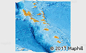 Political Shades Panoramic Map of Vanuatu, shaded relief outside, bathymetry sea