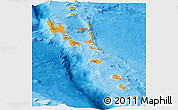 Political Shades Panoramic Map of Vanuatu, single color outside