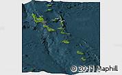 Satellite Panoramic Map of Vanuatu, darken