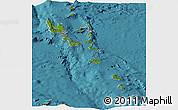 Satellite Panoramic Map of Vanuatu, political shades outside, satellite sea